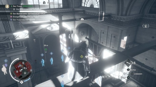 Test: Assassin's Creed – Syndicate Ein Assassine macht auch vor der Bank of England nicht halt. Im praktischen Adleraugen-Modus werden Ziele und Eingänge angezeigt. ©Ubisoft