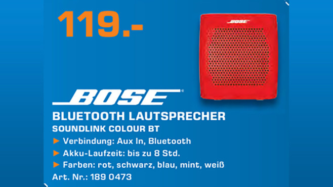 Bose SoundLink Colour Bluetooth Speaker © Saturn
