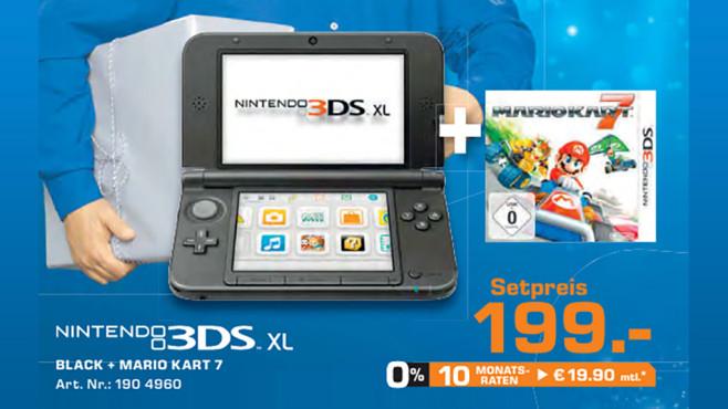 Nintendo 3DS XL silber-schwarz + Mario Kart 7 ©Saturn