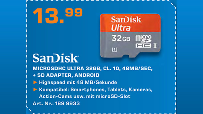 Sandisk Mobile Ultra Android microSDHC 32GB Class 10 UHS-I © Saturn
