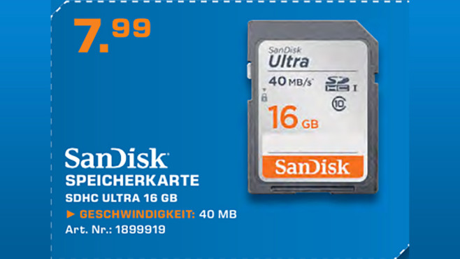 Sandisk Ultra SDHC 16GB © Saturn