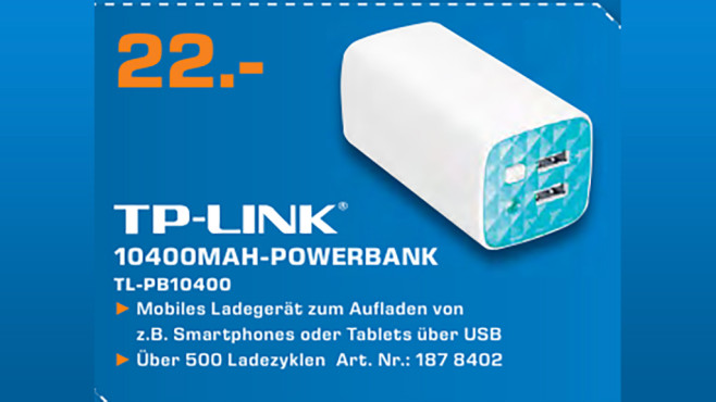 TP-LINK Power Bank TL-PB10400 © Saturn