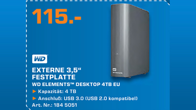 Western Digital Elements Desktop 4TB © Saturn