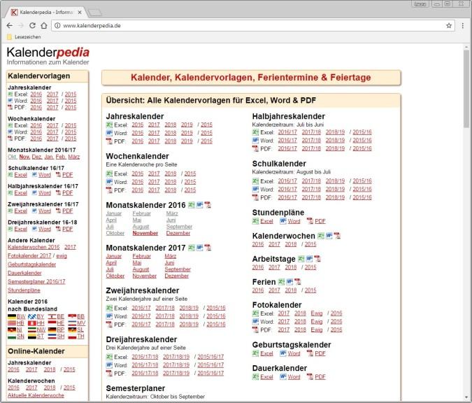 Kalendervorlagen für Excel, Word & PDF - Download - COMPUTER BILD
