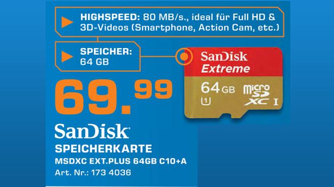 Sandisk microSDXC Extreme 64GB Class 10 UHS-I (SDSDQX-064G-U46A) ©Saturn