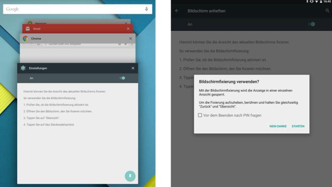 Bildschirm fixieren Android ©Android
