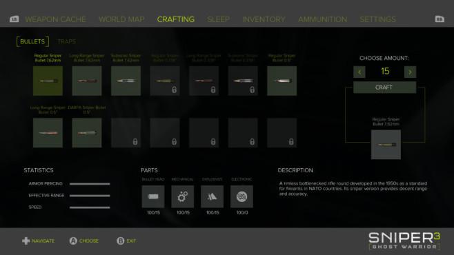 """Sniper Ghost Warrior 3: Das ewige Talent In """"Sniper Ghost Warrior 3"""" gibt es unterschiedliche Munitionsarten. Überlegen Sie vor jeder Mission welche Sie benötigen. ©Koch Media/CI Games"""
