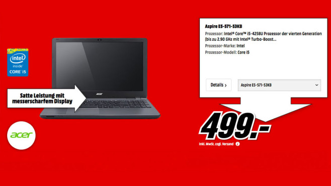 Acer Aspire E5-571-53KB © Media Markt
