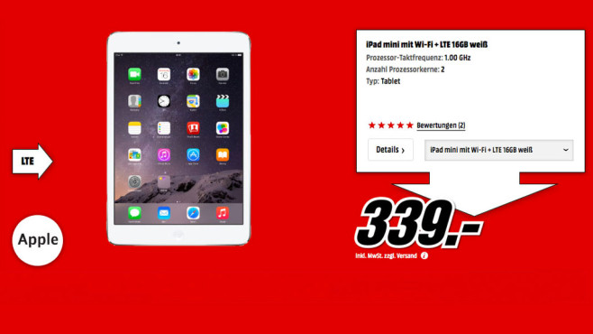 Apple iPad mini 16GB WiFi + 4G weiß © Media Markt
