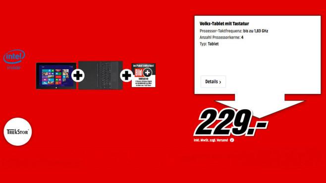"Trekstor SurfTab wintron WiFi 32GB inkl. Tastatur und 3 Monate ""BILDplus"" ©Media Markt"