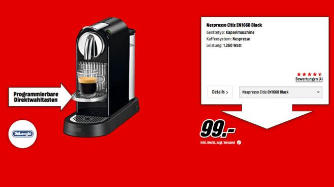 De'Longhi Nespresso Citiz EN 166.B ©Media Markt
