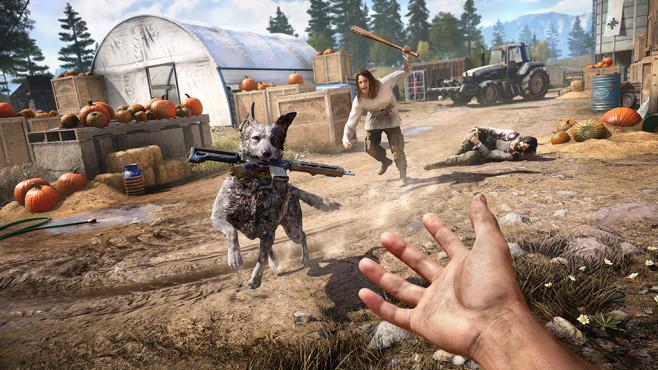 Far Cry 5 angespielt: Redneck Rampage! Braver Hund: Boomer greift nicht nur aufmüpfige Gegner an, sondern apportiert auch deren Waffen. ©Ubisoft