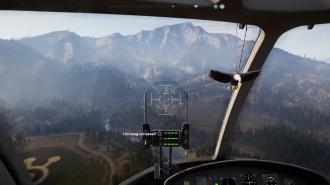 Far Cry 5 im Test: Hipster und Hetzer Das Fliegen spart Zeit und die Sicht auf Hope County ist schön. ©Ubisoft