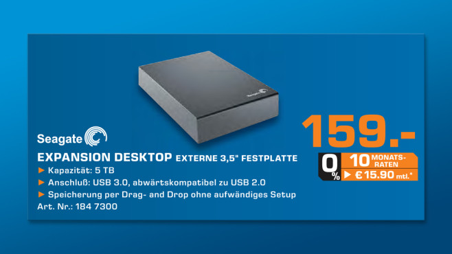 Seagate Expansion Desktop USB 3.0 5TB © Saturn