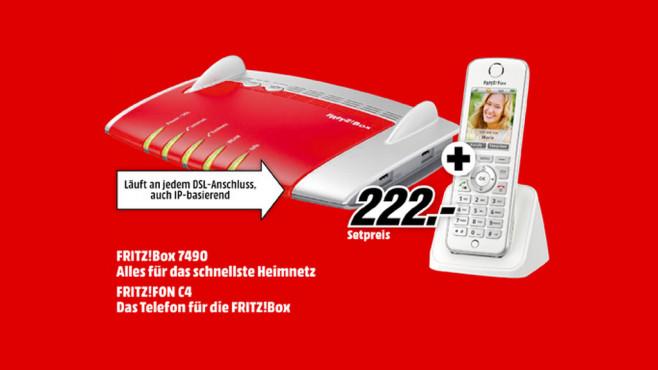 AVM FritzBox 7490 + AVM FritzFon C4 ©Media Markt