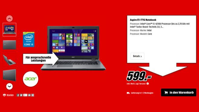 Acer Aspire E5-771G ©Media Markt