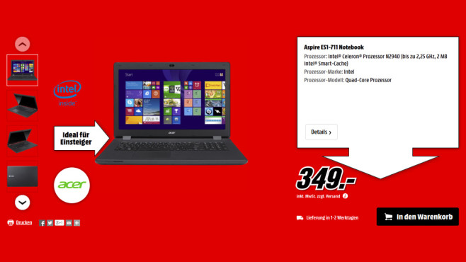 Acer Aspire ES1-711 ©Media Markt
