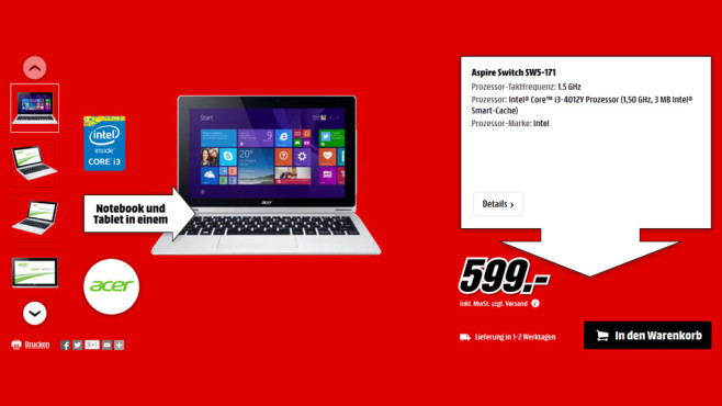 Acer Aspire Switch 11 © Media Markt