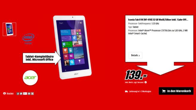 Acer Iconia Tab 8W-W1-810 ©Media Markt