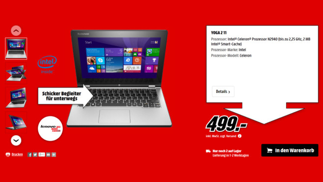 Lenovo IdeaPad Yoga 2 11 © Media Markt