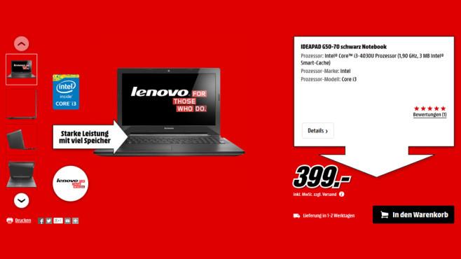 Lenovo Ideapad G50-70 ©Media Markt