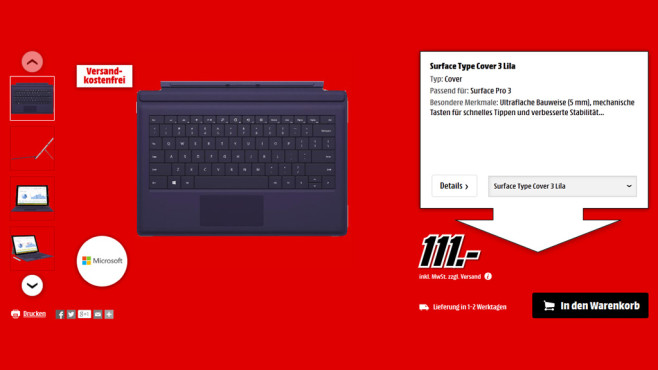 Microsoft Surface Pro 3 Type Cover © Media Markt