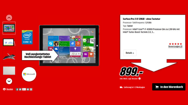 Microsoft Surface Pro 3 i5 128GB © Media Markt
