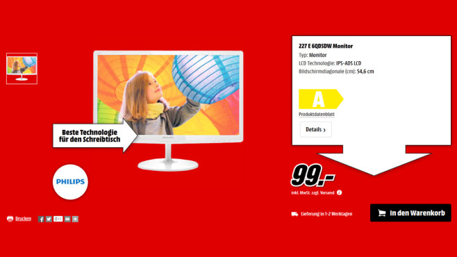 Philips 227 E 6QDSDW © Media Markt