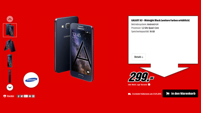 Samsung Galaxy A3 © Media Markt