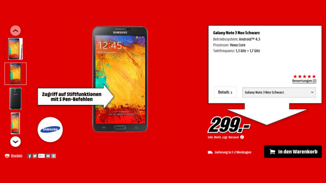 Samsung Galaxy Note 3 Neo © Media Markt