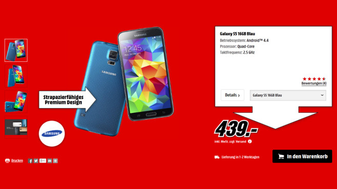 Samsung Galaxy S5 16GB © Media Markt