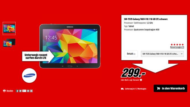 Samsung Galaxy Tab 4 (10.1) 16GB LTE ©Media Markt
