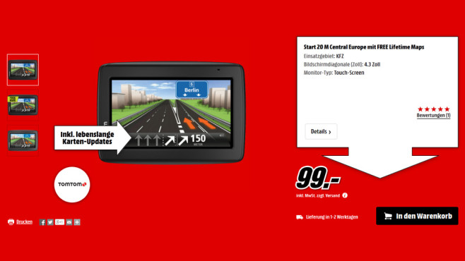 TomTom Start 20 M Central Europe Traffic © Media Markt