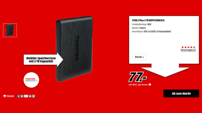Toshiba Stor.e Plus 2TB © Media Markt