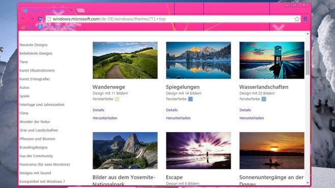 Windows 7/8: Theme-Pack von Microsoft: Bedienoberfläche austauschen ©COMPUTER BILD