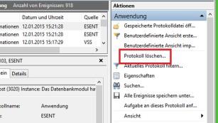 Windows 7/8: Ereignisanzeige manuell oder automatisch löschen Zuverlässig, aber aufwendig: das Löschen von Ereignisprotokollen via Menüoption. ©COMPUTER BILD