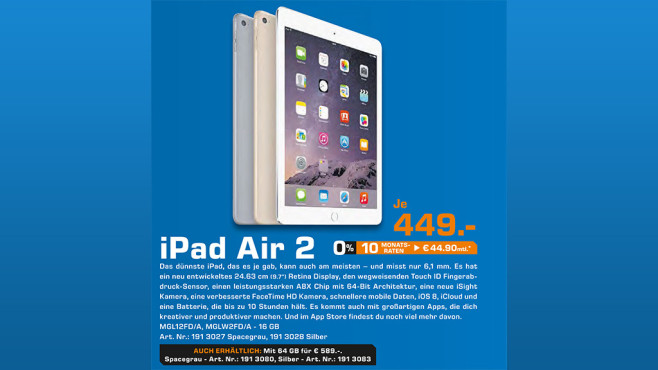 Apple iPad Air 2 16GB WiFi © Saturn