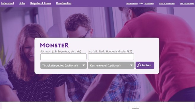 Die Jobsuche bei Monster.de ©Monster.de / COMPUTER BILD