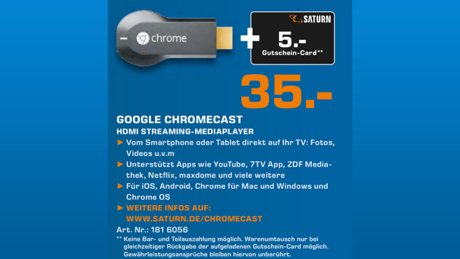 Google Chromecast inkl. 5-Euro-Gutschein ©Saturn