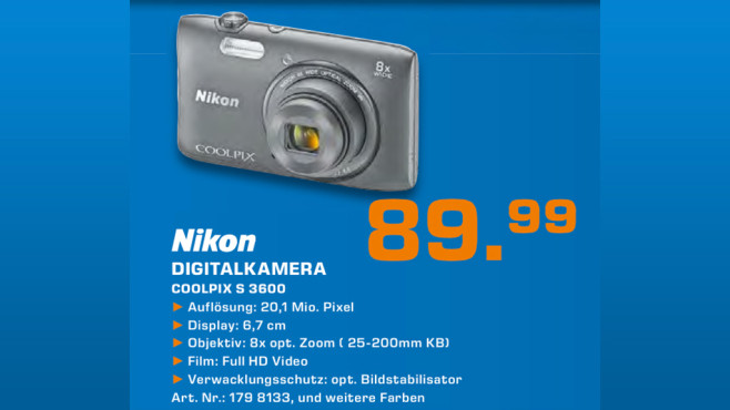 Nikon Coolpix S3600 © Saturn