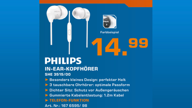 Philips SHE3515BK/00 © Saturn
