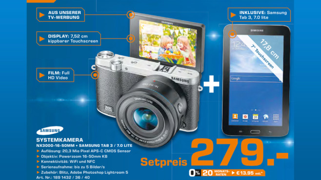 Samsung NX 3000+16-50mm + Tab 3 7''Lite ©Saturn