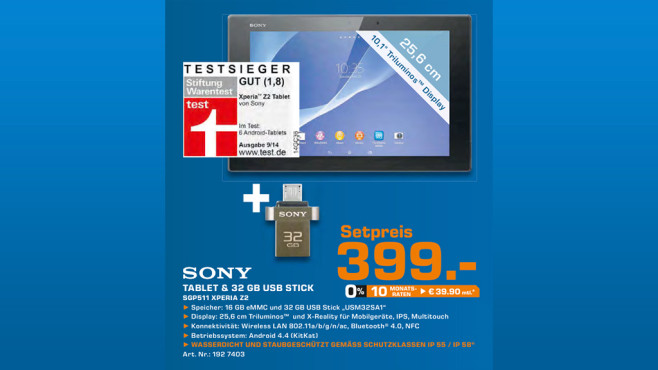 Sony Xperia Z2 Tablet 16GB + 32 GB USB-Stick © Saturn