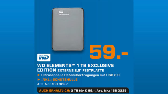 Western Digital Elements Portable 1TB © Saturn