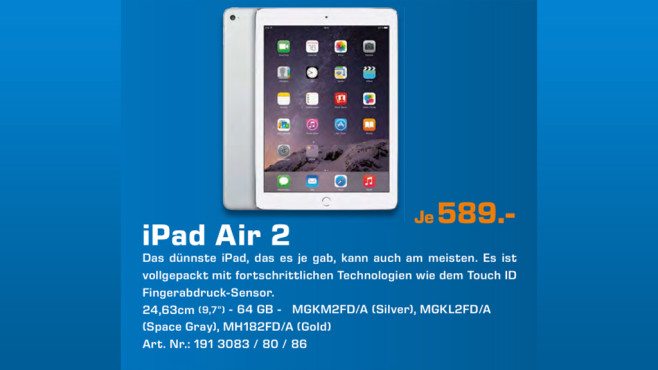 Apple iPad Air 2 64GB WiFi © Saturn