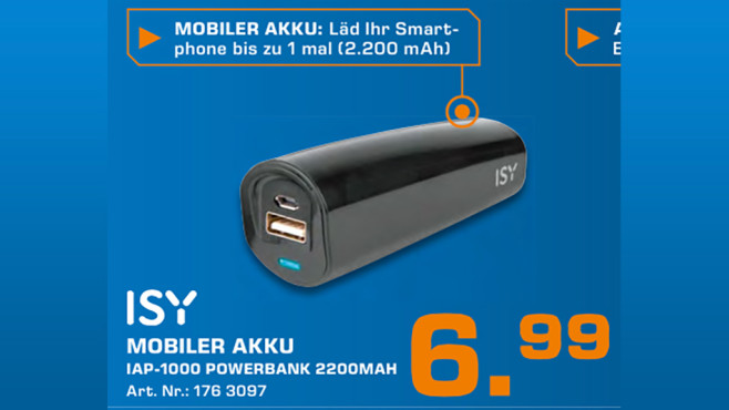 ISY IAP-1000 Powerbank 2200 mAh © Saturn