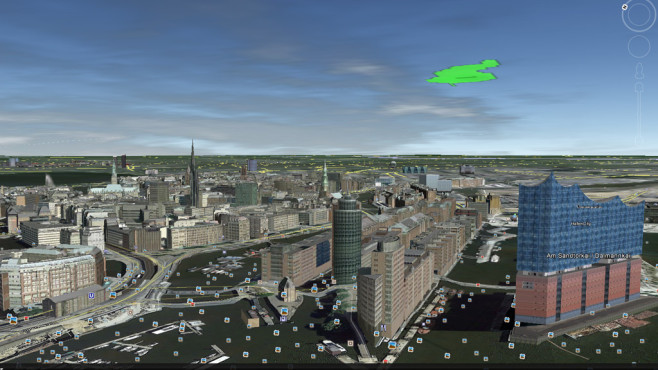 Google Earth: Hamburg in 3D-Ansicht © Google