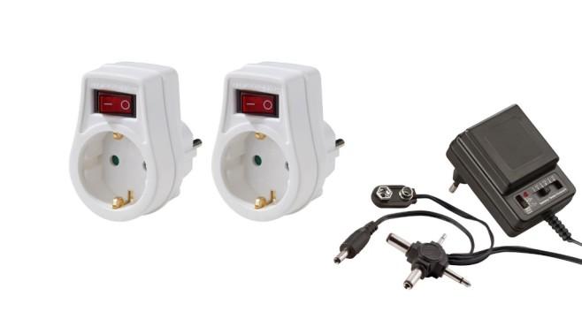 POWERFIX Netzadapter und zwei Steckdosenschalter ©Lidl