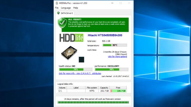 HDDlife: Festplattengesundheit rasch ermitteln ©COMPUTER BILD