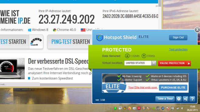 Hotspot Shield: Andere IP für Firefox oder Chrome ©COMPUTER BILD